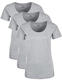 Berydale Damen T-Shirt für Sport & Freizeit, Rundhalsausschnitt 3er x Pack