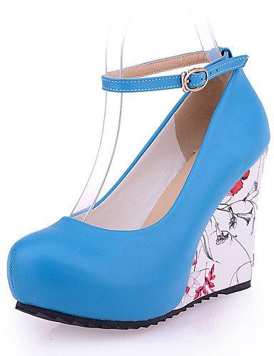 WSS 2016 Chaussures Femme-Habillé / Décontracté / Soirée & Evénement-Noir / Bleu / Blanc / Beige / Amande-Talon Compensé-Compensées / Talons / A white-us8 / eu39 / uk6 / cn39