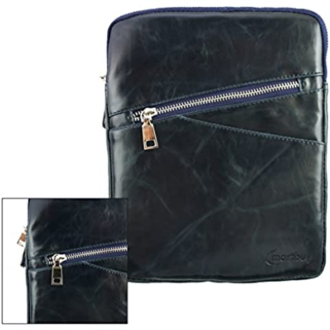 Emartbuy® Navy Azul Crossbody Mensajero Caja Case Cover Viajes Premium PU Cuero con Acolchado Interior y Correa Para Hombro Conveniente Para Alcatel One Touch POP 8 Tablet