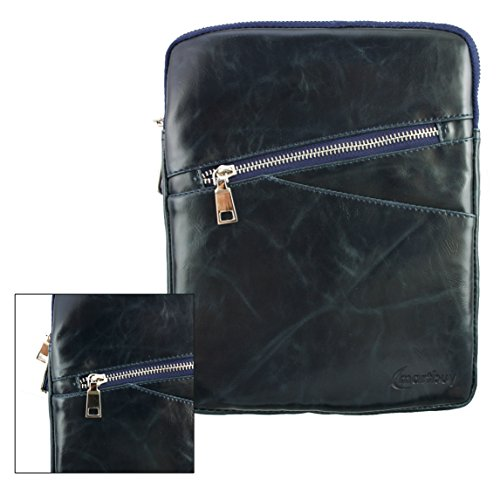 Emartbuy® Navy Blau Crossbody Reisen Messenger Bag Tasche Hülle in Premium PU Leder mit gepolsterten Innenraum und Schulterriemen für geeignet Blaupunkt Polaris QC Tablet 7.85 Zoll