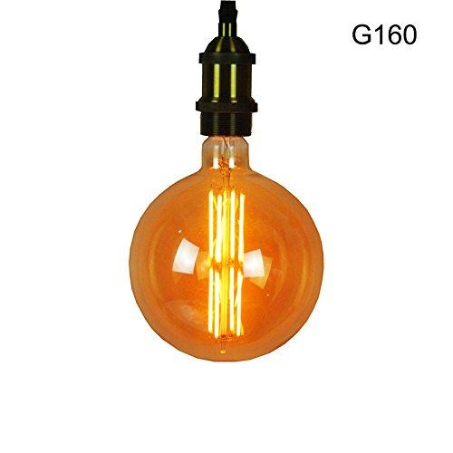 Warm Amber Glas (beilf Oversize Vintage LED Filament Globe Glühlampe G160, 160* 225mm, 3W amber Glas sehr warm weiß 1800K 200LM, 868mm lang Drähte Edison XXL Licht LED Deko Glühbirne)
