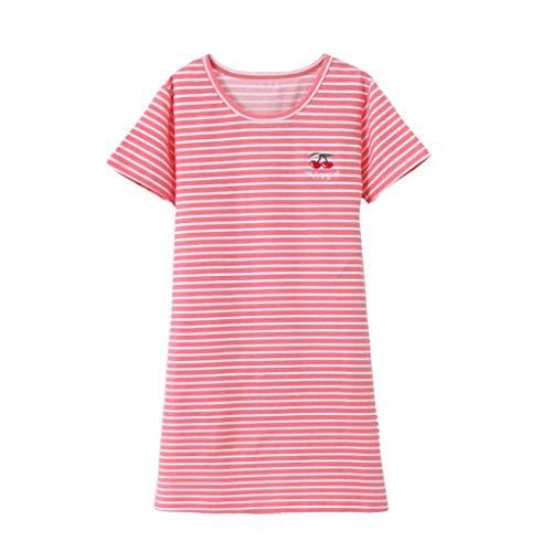 Baumwoll-print-nachthemd (Pwtchenty Mädchen Kleider Sommer Blume Kurze Baumwolle Freizeit Kleid Kurzarm Streifen Kirsch Print Pyjamas Nachthemd)