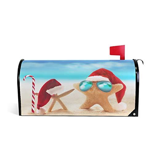 Wamika Sonnenbrille Briefkasten, wetterfest, magnetisch, verblasst Nicht, wetterfest, roter Hut, Blauer Strand, dekorativer Briefkasten, Briefkastenpapier, 64,7 x 52,8 cm