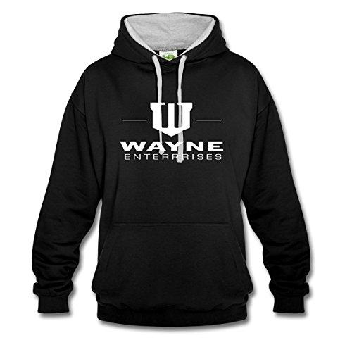 Spreadshirt DC Comics Batman Wayne Enterprises Sweat-Shirt Contraste, M, Noir/Gris chiné