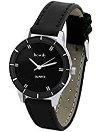 Howdy Analog Black Dial With Black Leather Strap Watch- For - Women's & Girl's Ss377