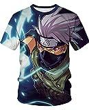 AMOMA Anime Naruto Dragon Ball Tokyo Ghoul T-Shirt Unisex Freizeit Kurzärmliges Tops Tees(S/M,61Kakashi)