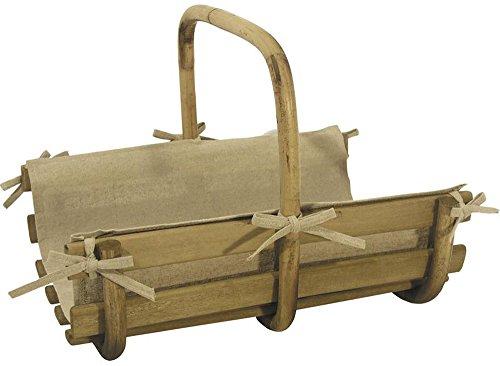 Lot de 2 Paniers à bûches en bois et rotin, 46 x 36 x 14-35 - 57 x 40 x 17-40 cm -PEGANE-
