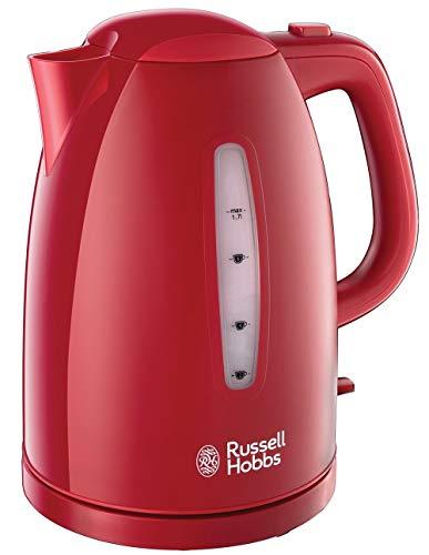 Russell Hobbs 21272-70/RH Textures Hervidor de Plástico con Detalles Mate y de Alto Brillo, 1.7 l W, 2400 W, 1.7 Litros, Rojo, sin BPA