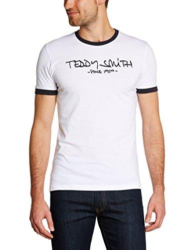 Teddy Smith - Maglietta Ticlass, Manica corta, Uomo, bianco (Blanc (Blanc Seri/Dark Navy)), XL