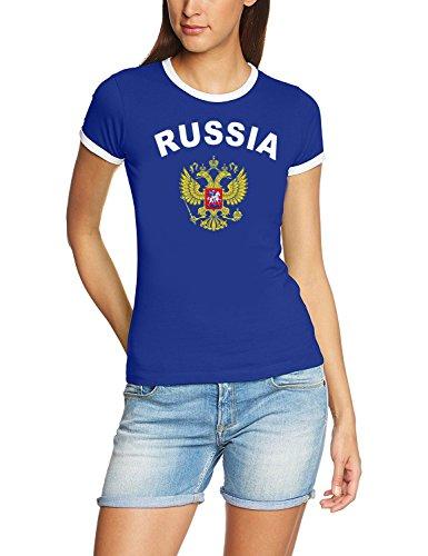 Coole-Fun-T-Shirts Russland Russia T-Shirt Damen Blau, Gr.M
