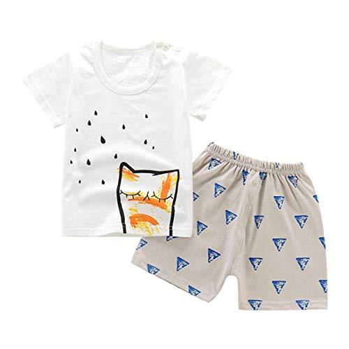 LENGIMA Kinder Jungen Mädchen Sommer Kurzarm Cartoon Baumwolle T-Shirt + Shorts Set 2tlg (Color : White Owl, Size : 55) (Kleinkind Owl Shirt)