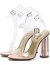 Cristal Transparente Sandalias Tacones gruesos dama Moda Punta abierta Hueco Correa Ankel Transparente Hebilla del cinturón Zapatos De Vestir Tamaño de la UE 34-40 , apricot , 38