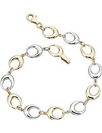 Elements Gold Damen-Armband Gelb- und Weißgold 9 Karat (375) ovale Verbindungsglieder 19 cm
