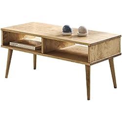 Mesa de Centro diseño Vintage, Madera Maciza Natural con Dos Compartimentos, fabricación Artesanal. 100 cm x 50 cm x 49 cm