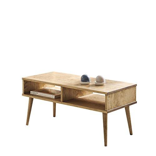 Hogar24 Table basse avec 2 compartiments en bois massif naturel Design vintage Fabrication artisanale100 x 50 x 49 cm.