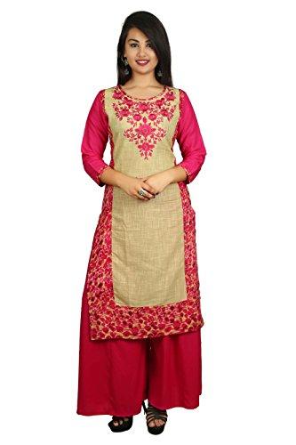 Attire Fashion Women's Cotton Embroidered Casual Kurti (Size-XL (42) Kurti Length-44 Inch.) Pink