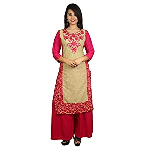 Attire Fashion Women's Cotton Embroidered Casual Kurti (Size-XL (42) Kurti Length-44 Inch.) Pink