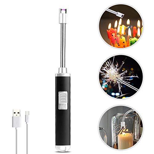 vitutech Stabfeuerzeug Lichtbogen Feuerzeug, Elektronisches Plasma Feuerzeug mit 360 ° Drehbarem Flexiblem USB Elektro Feuerzeug für Kerze,Home-Küche,Und OutdoorParty-Aktivitäten, Schwarz