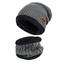 MUCO Unisex Mens/Womens & Boys/Girls Warm Knit Outdoors Ski Thick Hat Scarf Beanie Skull Cap for Winter Grey