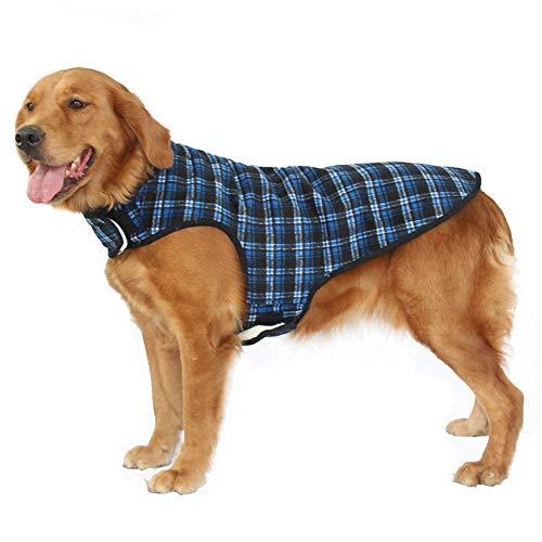 Yzibei Pullover Hund Hund Jacke Wasserdicht Mantel Winddicht Haustier Weste Warme Puppy Kleidung Reversible Britischen Stil Plaid Winter Mäntel Kaltes Wetter Jacken Kleidung für Hunde Reversible Winter Mantel