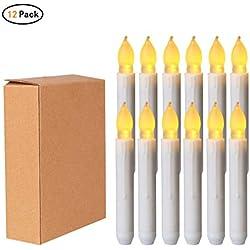 Zhongke LED Bougies 12 Bougies Coniques à Piles sans Flamme pour PCS lumière décorations de Mariage de noël