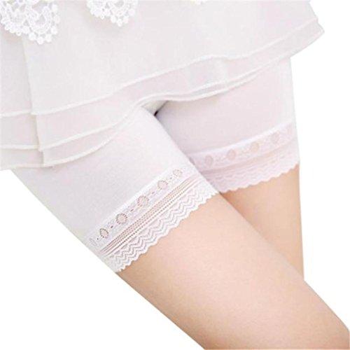Unterwäsche Dessous lingerie Damen,Yanhoo Heiße Mode Frauen Spitze abgestufte Röcke kurzen Rock unter Sicherheitshosen Unterwäsche Shorts (XL, Weiß) (Rock Kurzen Wolle)