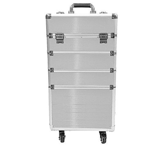 SAILUN® 4 Strati Custodie per cosmetici Beauty Trolley per trucco in alluminio con 4 ruote telescopiche 350 * 250 * 770mm (Argento)