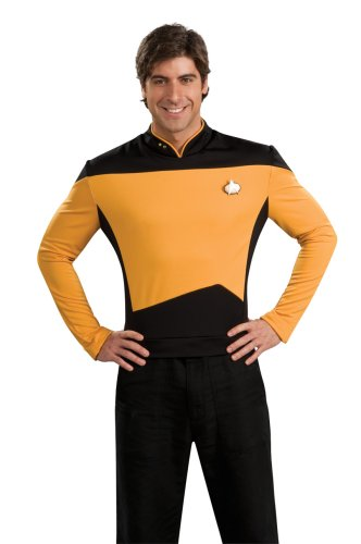 Deluxe Star Trek The next Generation Kostüm Uniform gold gelb goldene Trekkiuniform Trekki mit Rangabzeichen Rang Abzeichen Föderation Deep Space Nine USS Enterprise Enterpriseuniform Commander Gr. L, M, XL, Größe:L (Kostüm Next Generation)