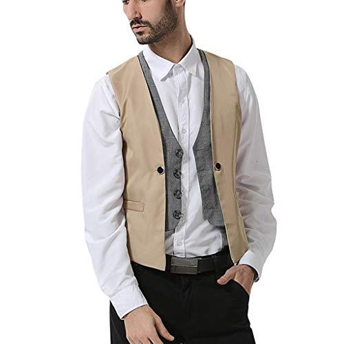 Zolimx Anzugweste Herren Herbst Winter Lässige Tasche Beston Droit Mantel Herren New Style Business Pure V-Ausschnitt Weste Fashion Bräutigam formelle Weste -