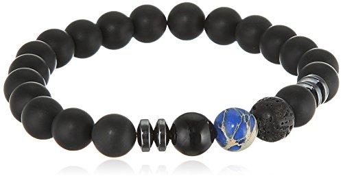 GOOD.designs Chakra Perlenarmband aus Onyx und Lavastein Natursteinperlen, Energiearmband mit bunter Jaspis Perle, Yoga-Armband für Damen und Herren