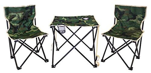 Xone set poltrone pieghevoli e tavolino con borsa da trasporto fantasia mimetica | tavolo sedie set da campeggio pieghevole verde militare in sacca da trasporto