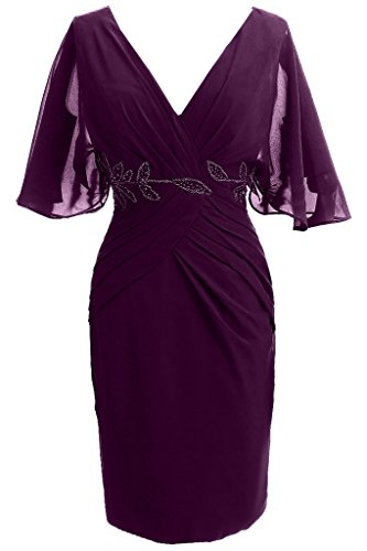 Sunvary Suess Neu Kurz 2014 Chiffon V-Neck Steine Abendmode Cocktailkleid Kurzarm Grape