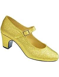Zapatos de tacón grises con purpurina plateada para niñas y adultas, zapatos de baile para flamenco y tango