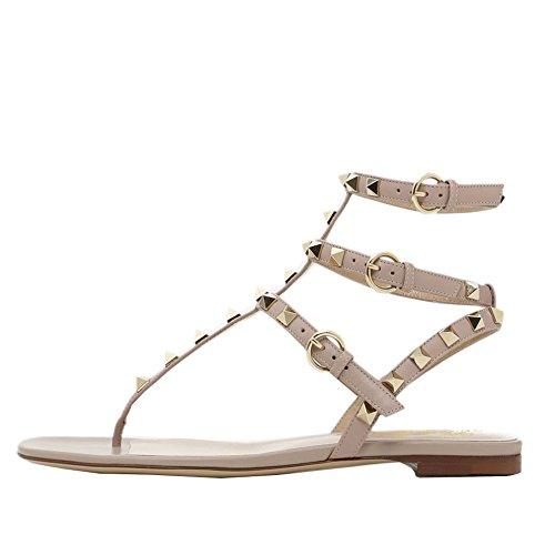 Lutalica Damenmode T-Strap besetzt Casual Komfort Sommer Flache Sandalen Schuhe Matt Beige Größe 39