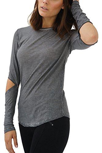 trueprodigy Casual Damen Marken Long Sleeve Einfarbig Basic, Oberteil Cool und Stylisch mit Rundhals (Langarm & Slim Fit), Langarmshirt für Frauen in Farbe: Grau 1182502-0403-L