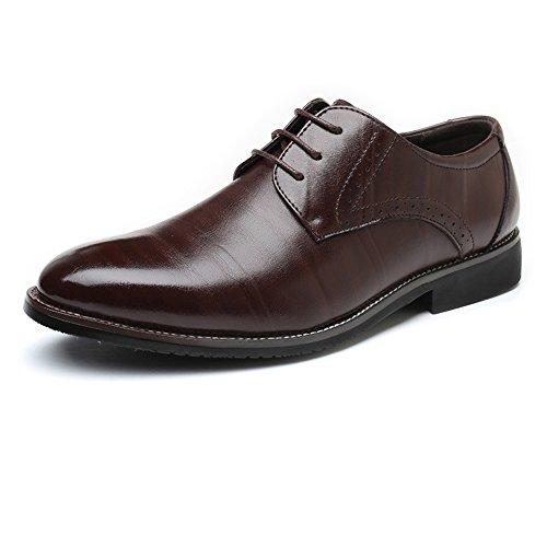 Sunny&baby scarpe da lavoro da uomo da uomo classic matte pu leather upper lace up fodere in fodera traspirante resistente all'abrasione (color : brown, dimensione : 41 eu)