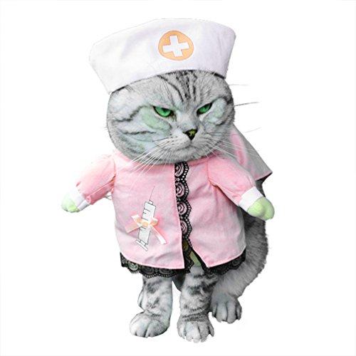 Imagen de smalllee _ lucky _ store pequeño perro ropa disfraz de enfermera para niñas niños gato perro con sombrero elegante lazo todas las estaciones, color rosa
