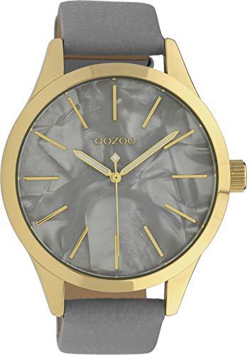 Oozoo Damenuhr mit Lederband 45 MM Goldfarben/Perlmutt/Hellgrau C10071