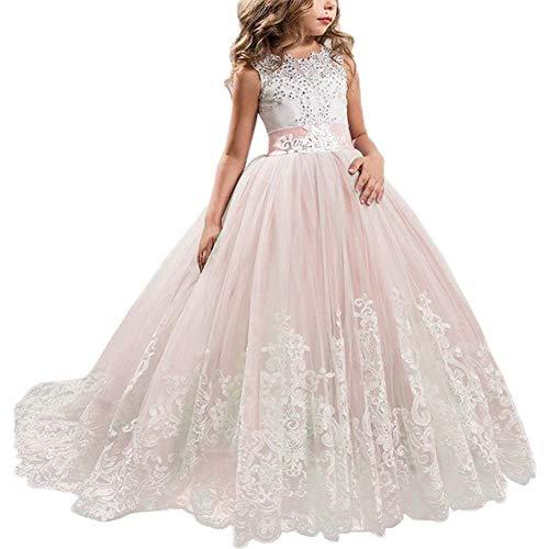 NNJXD Mädchen Spitze Applique bestickt Hochzeit Brautjungfer Prom Schule Abendgesellschaft Ballkleider Kinder Tüll Prinzessin langes Kleid. Größe (140) 9-10 Jahre Rosa