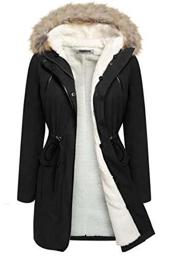 CRAVOG Damen Winter warm Parka Beiläufig Lang Winterjacke Wintermantel Faux Pelz Jacke mit Kapuze