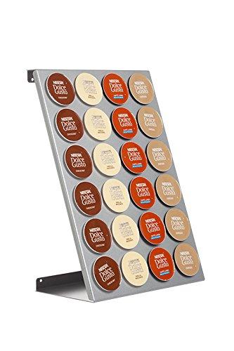 Distributore di capsule, Porta capsule Döring CoffeeRack DG24 argentato per capsule Dolce Gusto