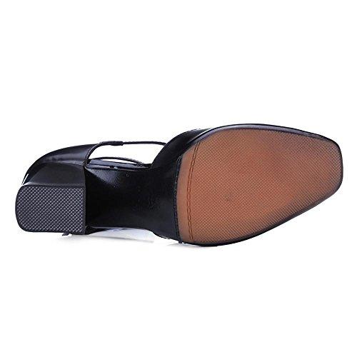 GJDE Scarpe di Estate Tacco Testa Quadrata Grossa Sandali Donna Pelle Sintetica con Plateau e Cinturino Caviglia wine red