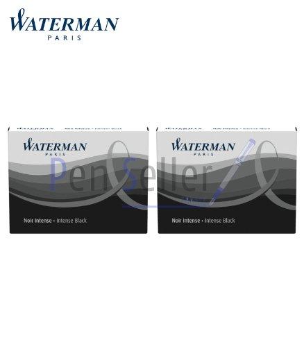 Waterman 2 astucci da 8 cartucce UGC lunghe, con inchiostro non cancellabile, colore: Nero intenso
