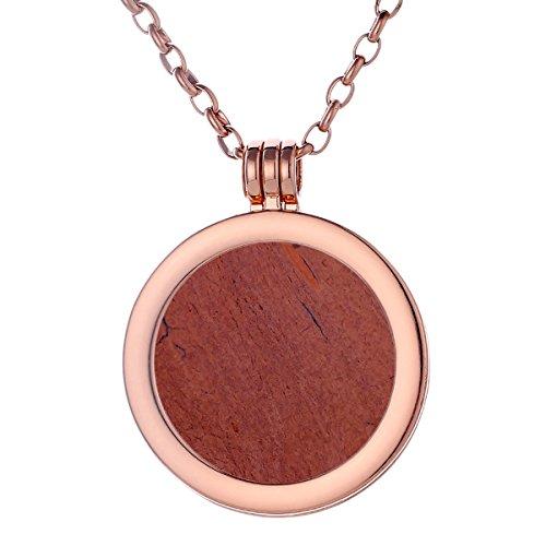 tte rosegold 70 cm Edelstahl und Anhänger mit Edelstein roter Jaspis Coin 33 mm Chakren Scheibe in Schmuckbeutel ()