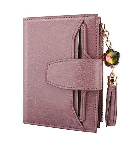Luxspire Genuine Leather Women's RFID Blocking Wallet, Small Compact Zipper Pocket Wallet Card Case Purse Bifold Wallet with 2 ID Window, Spring Lilac