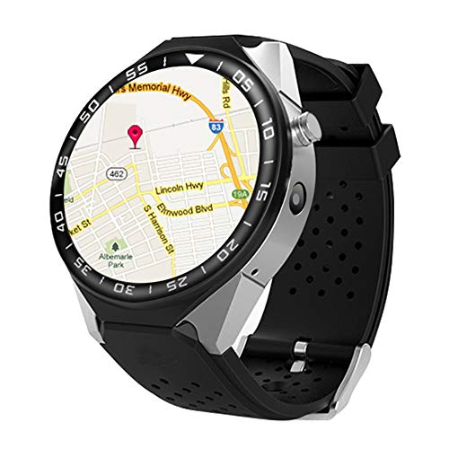T9 Android 5.1 Bluetooth Smart Watch 3G WIFI GPS SIM Card Heart Rate Smartwatch with 2.0MP Camera 1GB 16GB VS KW88 (Silver)