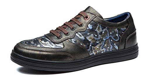 OPP Herren echte Kuh-Leder-Lace-up einzigartige Muster-Entwurf leichte Kleid-Schuhe Gold
