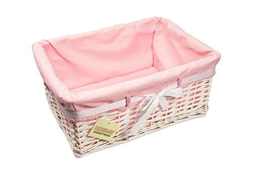 1 X Woodluv Rectangular White Willow Wicker Hamper Storage Basket-With Pink Dot Linning(Gift Hamper Basket ) -SMALL
