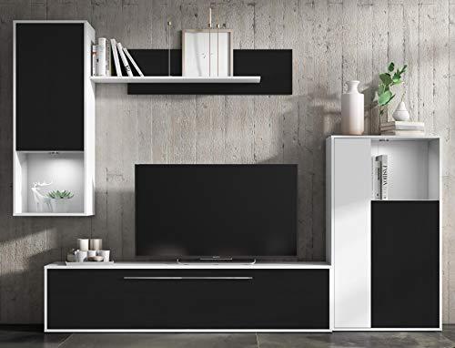 Mueble de salón Comedor módulos Estilo Moderno Color Negro y Blanco 250x210x40 cm