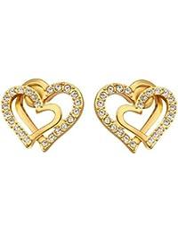 Niyatree Mujer Moda Pendientes Bañado en 18K Oro con Cristal - Doble Corazón Elegante + Caja Regalo